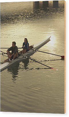 Crew Model Released Rowers Take A Break Wood Print by Phil Schermeister