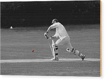 Cricketer In Black And White With Red Ball Wood Print