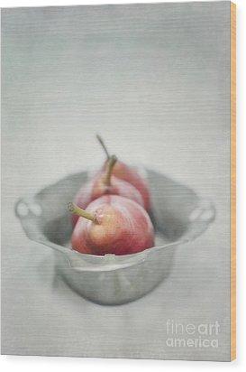 Crimson And Silver Wood Print by Priska Wettstein