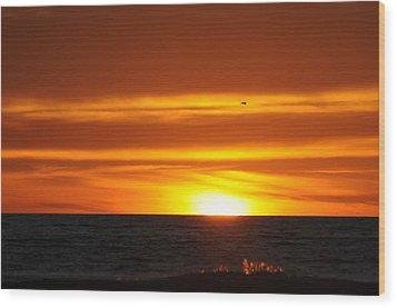Crimson Sunset Wood Print