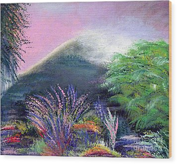 Wood Print featuring the painting Croagh Patrick by Alys Caviness-Gober