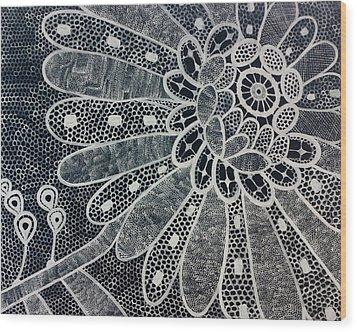 Crochet Flower Wood Print by Salwa  Najm