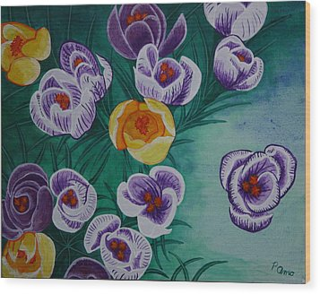 Wood Print featuring the painting Crocus by Paul Amaranto