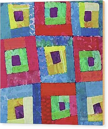 Crooked Color Boxes Wood Print by Marilyn West