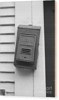 Crooked Old Fashioned Metal Green Mailbox French Quarter New Orleans Black And White Wood Print by Shawn O'Brien