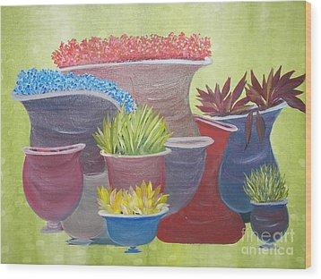 Crooked Pots Wood Print by Rachel Carmichael