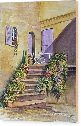 Crooked Steps And Purple Doors Wood Print by Sam Sidders