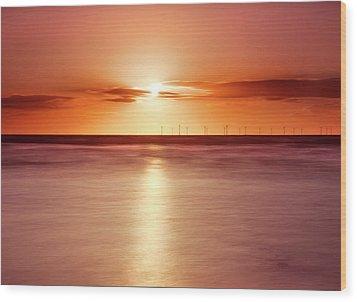 Crosby Beach In Sunset Wood Print by Ian Moran