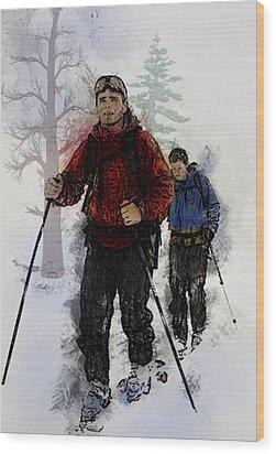 Cross Country Skiers Wood Print by Elaine Plesser