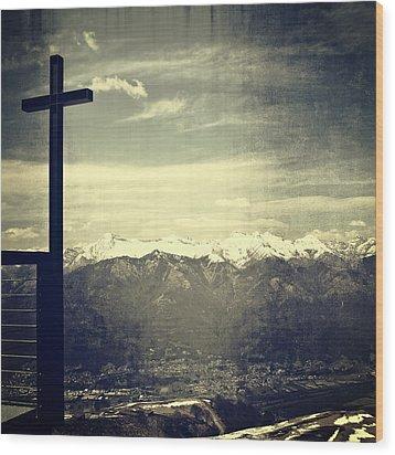 Cross In The Sky Wood Print by Joana Kruse