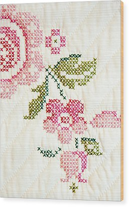 Cross Stitch Flower 1 Wood Print by Marilyn Hunt