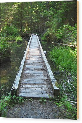 Crossing Over Wood Print by Kathy Bassett