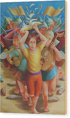 Crossing The Jordan Wood Print by Rosemarie Adcock