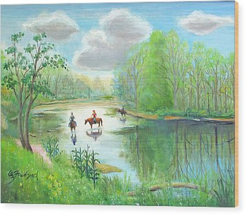Crossing The Neshaminy Wood Print by Oz Freedgood