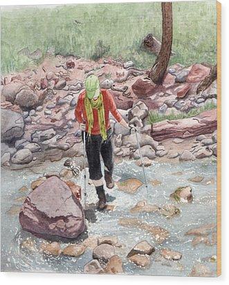 Crossing Virgin Stream Wood Print by Inger Hutton