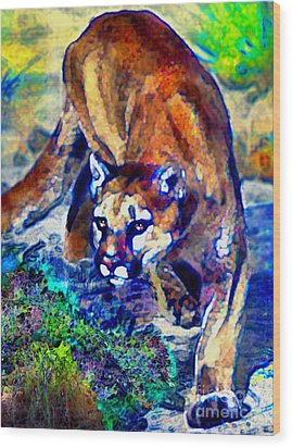 Wood Print featuring the painting Crouching Cougar by Elinor Mavor
