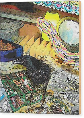 Wood Print featuring the mixed media Crow In Rehab by YoMamaBird Rhonda