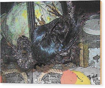 Wood Print featuring the mixed media Crow Rehab by YoMamaBird Rhonda