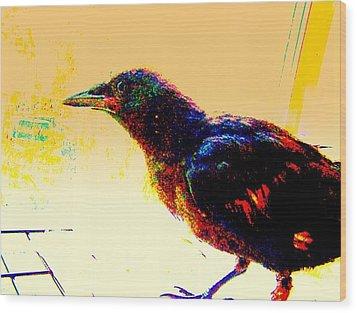 Wood Print featuring the mixed media Crow Walk by YoMamaBird Rhonda