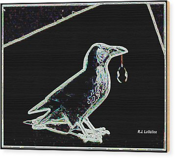 Crow With Crystal 3 Wood Print
