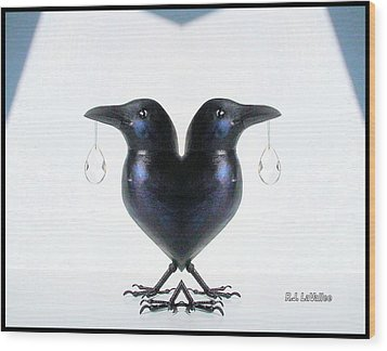 Crow With Crystal 6 Wood Print by Roland LaVallee