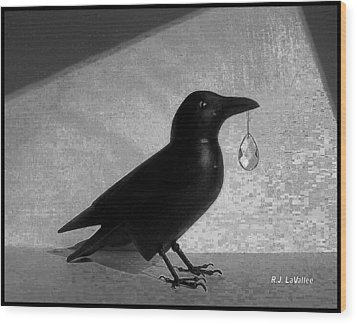 Crow With Crystal 7 Wood Print by Roland LaVallee