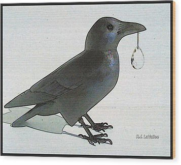Crow With Crystal 8 Wood Print by Roland LaVallee