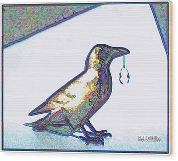 Crow With Crystal1 Wood Print