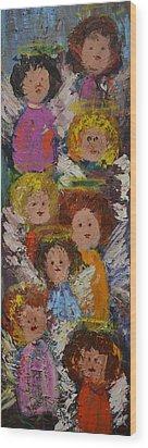 Crowd Of Angels Wood Print by Kathy  Cuiffi