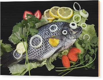 Crucian Fish With Vegetable Wood Print by Paul Ge