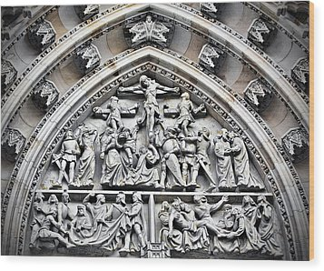 Crucified Christ - Saint Vitus Cathedral Prague Castle Wood Print by Christine Till