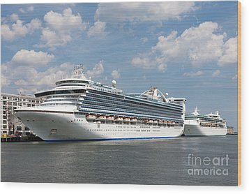 Cruise Ships At Cruiseport Boston Wood Print by Clarence Holmes