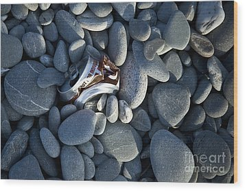 Crushed Can In Rocks Wood Print by Dave & Les Jacobs