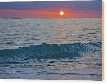 Crystal Blue Waters At Sunset In Treasure Island Florida 3 Wood Print by Robin Lewis