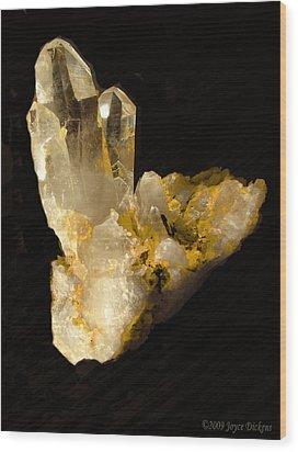 Crystal On Black Wood Print by Joyce Dickens