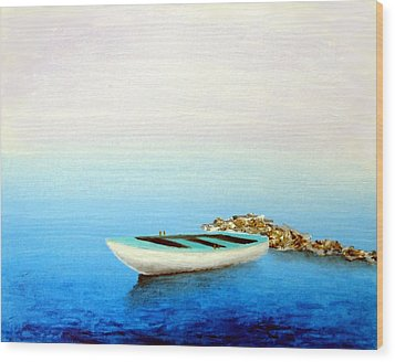 Crystal Water Of The Mediterranean Wood Print by Larry Cirigliano