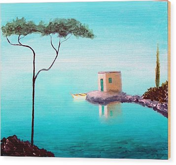 Crystal Waters On The Mediterranean Wood Print by Larry Cirigliano