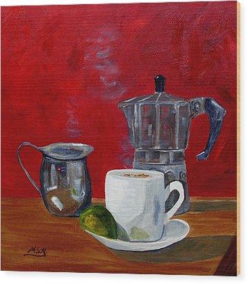 Cuban Coffee Lime And Creamer 2 Wood Print by Maria Soto Robbins