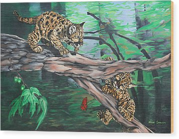 Wood Print featuring the painting Cubs At Play by Wendy Shoults