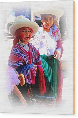 Cuenca Kids 191 Wood Print by Al Bourassa