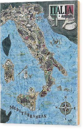 Culinary Map Of Italy Wood Print by Big Tasty