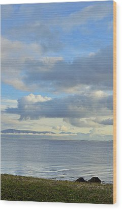 Wood Print featuring the photograph Cumulus Clouds Sea And Mountains Reykjavik Iceland by Marianne Campolongo