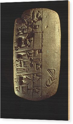 Cuneiform Writing Describes Commodities Wood Print by Lynn Abercrombie