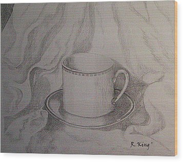 Wood Print featuring the drawing Cup And Saucer On Material by Roena King