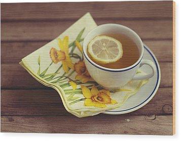 Cup Of Tea With Lemon Wood Print by Copyright Anna Nemoy(Xaomena)