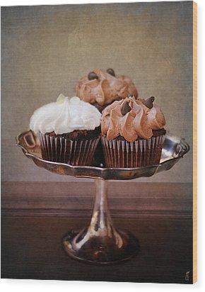 Cupcake Trio Wood Print by Jai Johnson