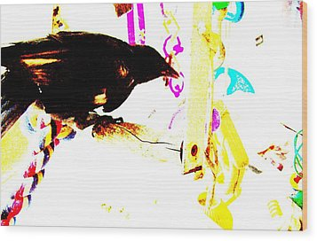Wood Print featuring the mixed media Curious Crow by YoMamaBird Rhonda