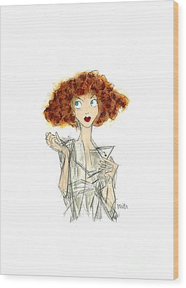 Curly Haired Girl Wood Print by Turtle Caps