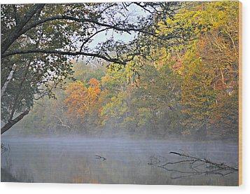 Current River Fall 44r Wood Print by Marty Koch