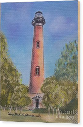 Wood Print featuring the pastel Currituck Lighthouse Nc by Julie Brugh Riffey
